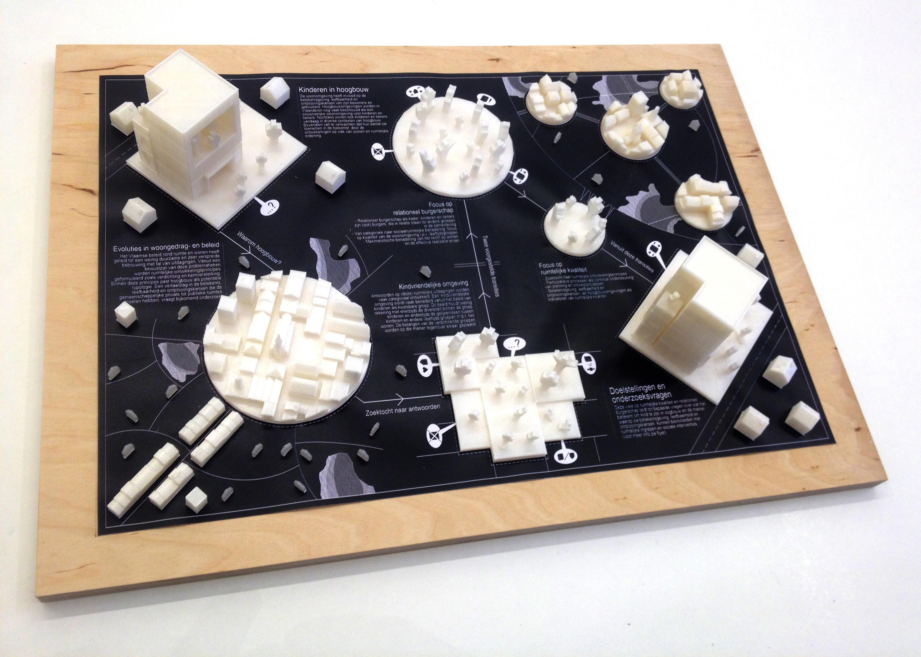 Visuele voorstelling van de projectflyer: 3D geprintte maquette